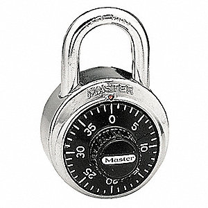 Combination Padlock,Center,Black/Silver