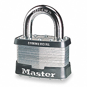 "Alike-Keyed Padlock, Open Shackle Type, 1-1/4"" Shackle Height, Silver"