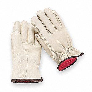 Cowhide Drivers Gloves, Shirred Wrist Cuff, Light Greenish Beige, Size: M, Left and Right Hand