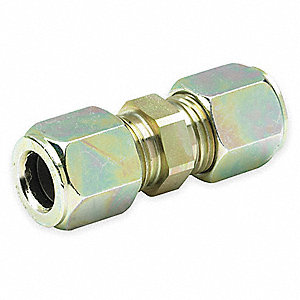 "Zinc Plated Steel Compression Union, 1/4"" Tube Size"