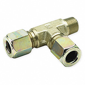 "Male Run Tee, 1/4"" Tube Size, 1/4"" Pipe Size - Pipe Fitting, Metal"