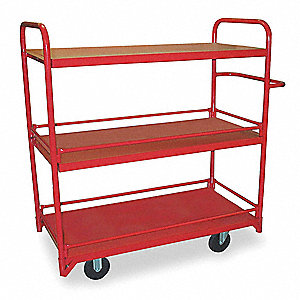 Stock Cart, 1200 lb. Load Capacity, (2) Rigid, (2) Swivel Caster Type, Steel
