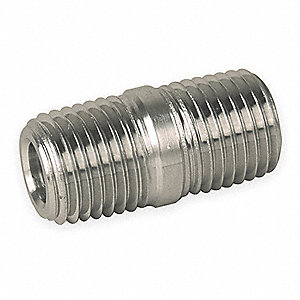 "3/8"" x 1-1/8"" 316 Stainless Steel Close Pipe Nipple, Threaded on Both Ends"