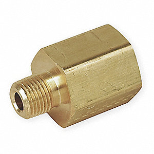 "Brass Reducing Adapter, NPT Female x NPT Male, 3/8"" x 3/8"" Pipe Size (Fittings)"