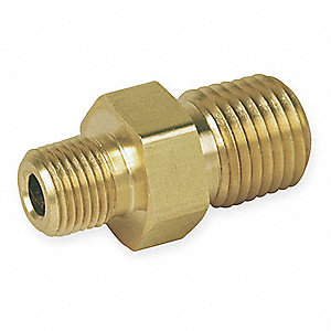 "Brass Reducing Male Hex Nipple, MNPT, 3/8"" x 1/4"" Pipe Size,  1 EA"