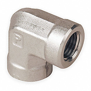 "316 Stainless Steel Elbow, 90°, FNPT, 3/8"" Pipe Size - Pipe Fitting"