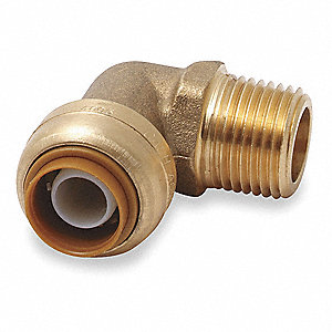 "DZR Brass Swivel Elbow, 90°, 1/2"" Tube Size"