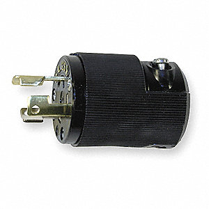 15A Industrial Grade Non-Shrouded Locking Plug, Black; NEMA Configuration: L5-15P