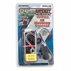 "Black Rope Ratchet, 1/4"" Diameter, 15 ft. Length, Steel Hardware Material, Includes Rope"