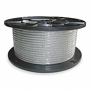 Cable,3/32 In,L250Ft,WLL184Lb,7x7,Steel