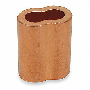 Wire Rope Sleeve,5/32 In,Copper,PK25