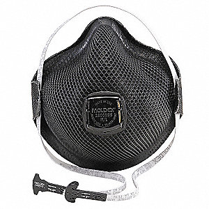 N95 Disposable Respirator, Molded, Black, Mask Size: S, 10PK