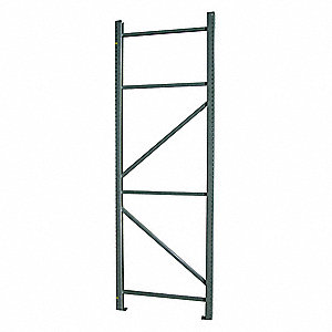 Steel Welded Pallet Rack Upright Frame with 19,300 lb. Load Capacity, Vista Green