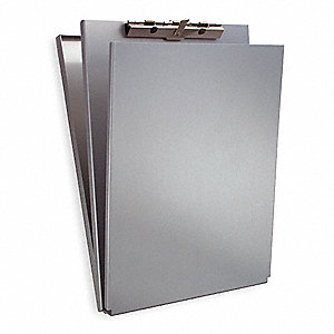 "9-1/8"" x 12-1/2"" Aluminum Portable Storage Clipboard with Serrated Clip, Silver"