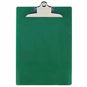 Letter-Size Clipboard with High Capacity Clip, Plastic, Green