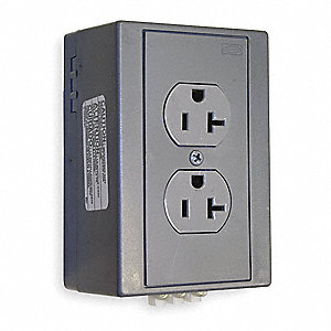 20A Industrial Environments DIN Rail Receptacle, Gray; Tamper Resistant: No