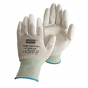 Antistatic Gloves, Gray/White, Nylon/Thunderon® Shell, Size M, Rolled Cuff