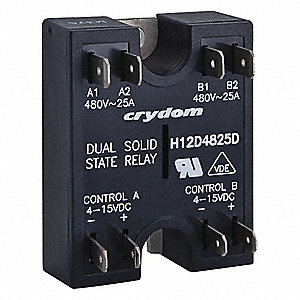 2-Pole Surface Mount Dual Solid State Relay; Max. Output Amps w/Heat Sink: 25