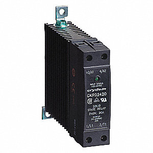 1-Pole DIN Rail/Flange Mount Solid State Relay; Max. Output Amps w/Heat Sink: 20