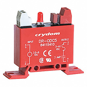 Input/Output Relay,3A,DIN Rail,Red