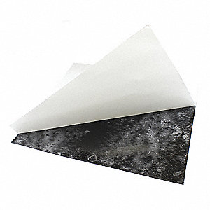 "Buna-N Rubber Sheet, 12""W x 1 ft.L x 3/8""Thick, 60A, Adhesive Backing Type, 200% Elongation, Black"