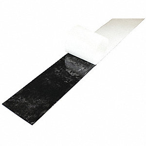"Buna-N Rubber Strip, 4""W x 3 ft.L x 1/8""Thick, 40A, Adhesive Backing Type, 400% Elongation, Black"