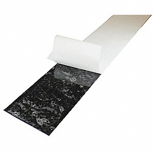 "Buna-N Rubber Strip, 6""W x 3 ft.L x 1/2""Thick, 50A, Adhesive Backing Type, 300% Elongation, Black"
