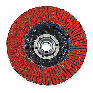 "4-1/2"" Arbor Mount Flap Disc, Type 27, Ceramic, 40 Grit, 5/8-11 Mounting Size, 947D"