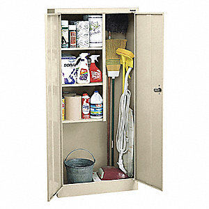 "Commercial Storage Cabinet, Putty, 66"" H X 30"" W X 15"" D, Assembled"