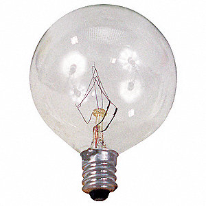 40 Watts Incandescent Lamp, G16-1/2, Candelabra Screw (E12), 260 Lumens
