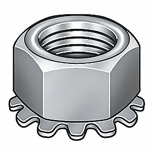 #10-32 Tooth Washer Lock Nut, Zinc Plated Steel, Right Hand, PK100