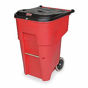 Trash Can,95 gal.,Red,Plastic