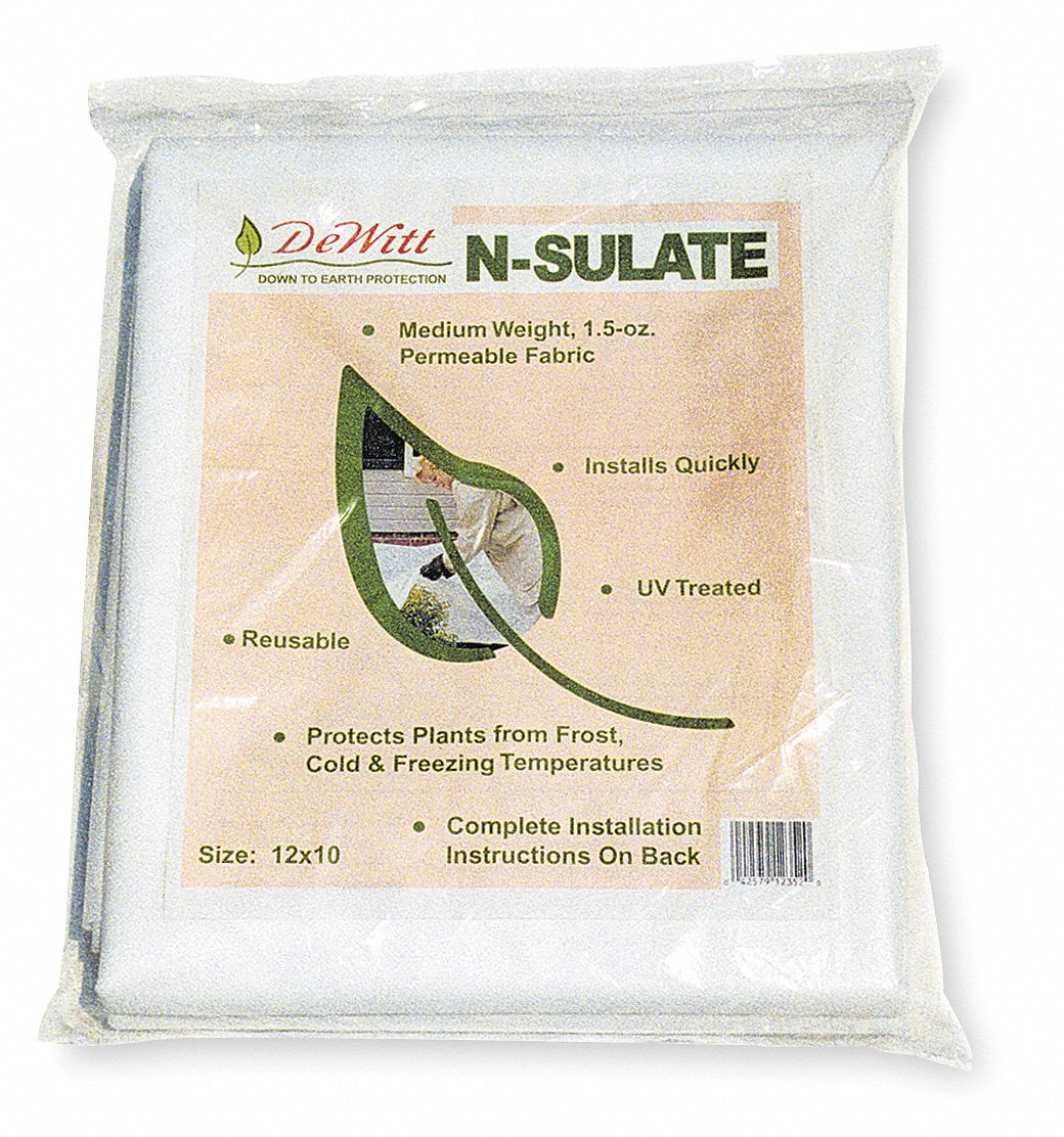 Plant Protection Fabric, N-Sulate Polypropylene, White, 10 ft x 12 ft