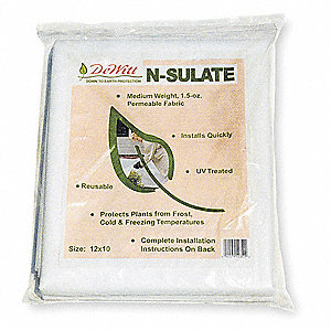 Plant Protection Fabric, N-Sulate Polypropylene, White, 10 ft. x 12 ft.