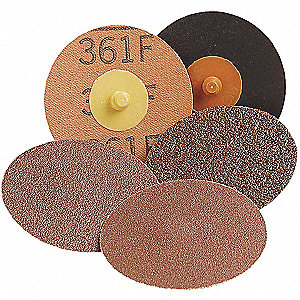 "3"" Quick Change Disc, Aluminum Oxide, TR, 24 Grit, Extra Coarse, Coated, 361F, PK50"