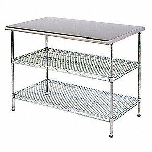 "Adjustable Worktable, Stainless Steel Frame Material, 48"" Width, 30"" Depth"