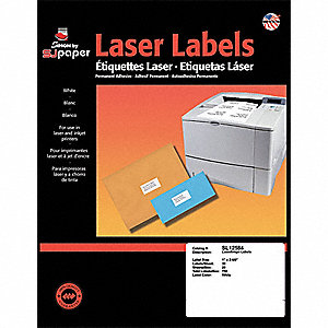 Laser Label,1x2 5/8In,PK25,White