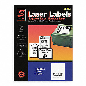 Laser Label,8 1/2X11In,PK25,White