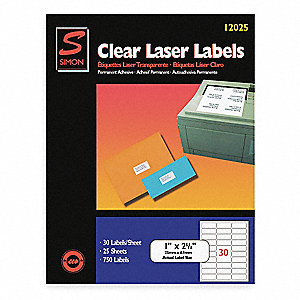 Laser Label,1x2 5/8In,Clear,PK25