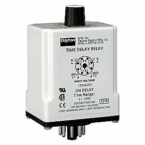 Single Function Time Delay Relay, 120VAC/DC Coil Volts, 10A Contact Amp Rating (Resistive), Contact