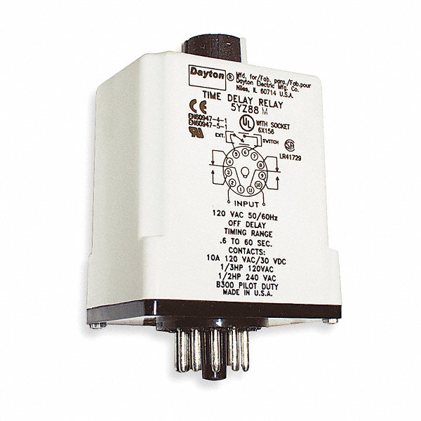 dayton time delay relay 120vac dc coil volts 10a contact. Black Bedroom Furniture Sets. Home Design Ideas