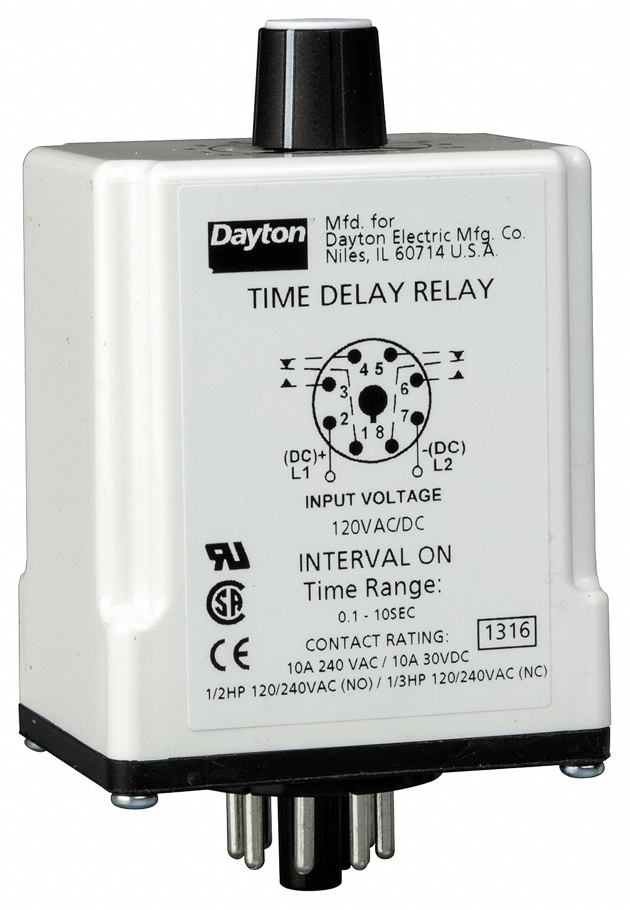 DAYTON Single Function Timing Relay, 120VAC/DC, 10A @ 240V, 8 Pins ...