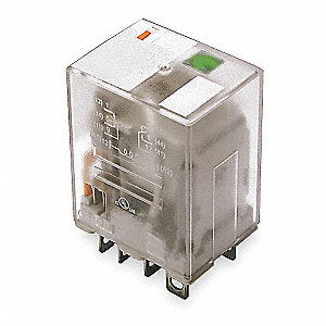 Plug In Relay, 8 Pins, Square Base Type, 15A @ 277VAC/28VDC Contact Rating, 12VDC Coil Volts
