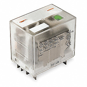 24VAC, 14-Pin Square Base General Purpose Plug-In Relay; AC Contact Rating: 15A @ 277V