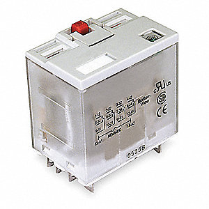 240VAC, 14-Pin Square Base General Purpose Plug-In Relay; AC Contact Rating: 15A @ 277V