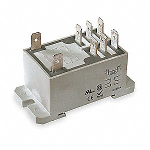 "24VAC, 8-Pin Bottom Flange, Din Rail Enclosed Power Relay; Electrical Connection: 1/4"" Tab Terminal"