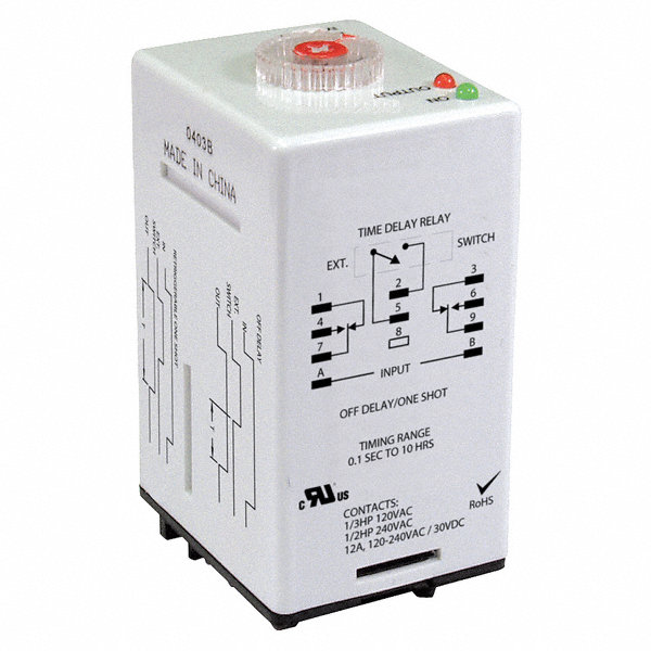 dayton 2 function time delay relay 24vac dc 12a contact. Black Bedroom Furniture Sets. Home Design Ideas