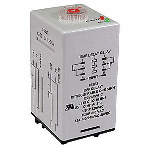 Time Delay Relay, 120VAC Coil Volts, 12A Contact Amp Rating (Resistive), Contact Form: DPDT