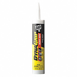White 10 oz. Construction Adhesive, 24 hr. Curing Time, 1 EA