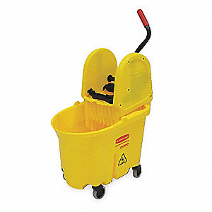 Yellow Polypropylene Mop Bucket and Wringer, 35 qt.
